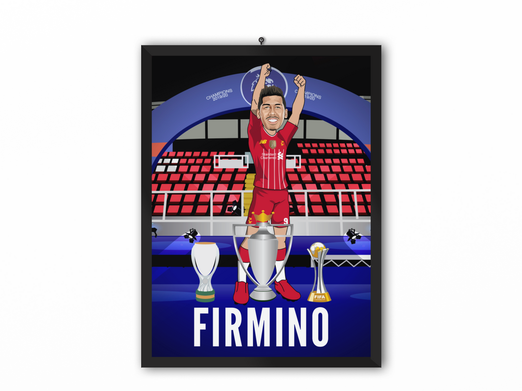 Roberto Firmino - Champions 19/20 Caricature Illustration Print - A3, A4 or A5