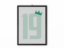 Load image into Gallery viewer, 19 Crown - Champions 19/20 Print (Green Text) - A3, A4 or A5
