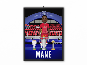 Sadio Mane - Champions 19/20 Caricature Illustration Print - A3, A4 or A5