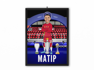 Joel Matip - Champions 19/20 Caricature Illustration Print - A3, A4 or A5