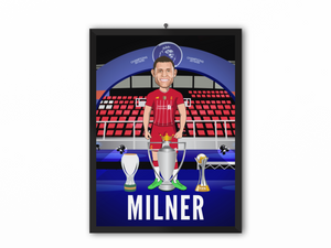 James Milner - Champions 19/20 Caricature Illustration Print - A3, A4 or A5