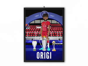 Divock Origi - Champions 19/20 Caricature Illustration Print - A3, A4 or A5