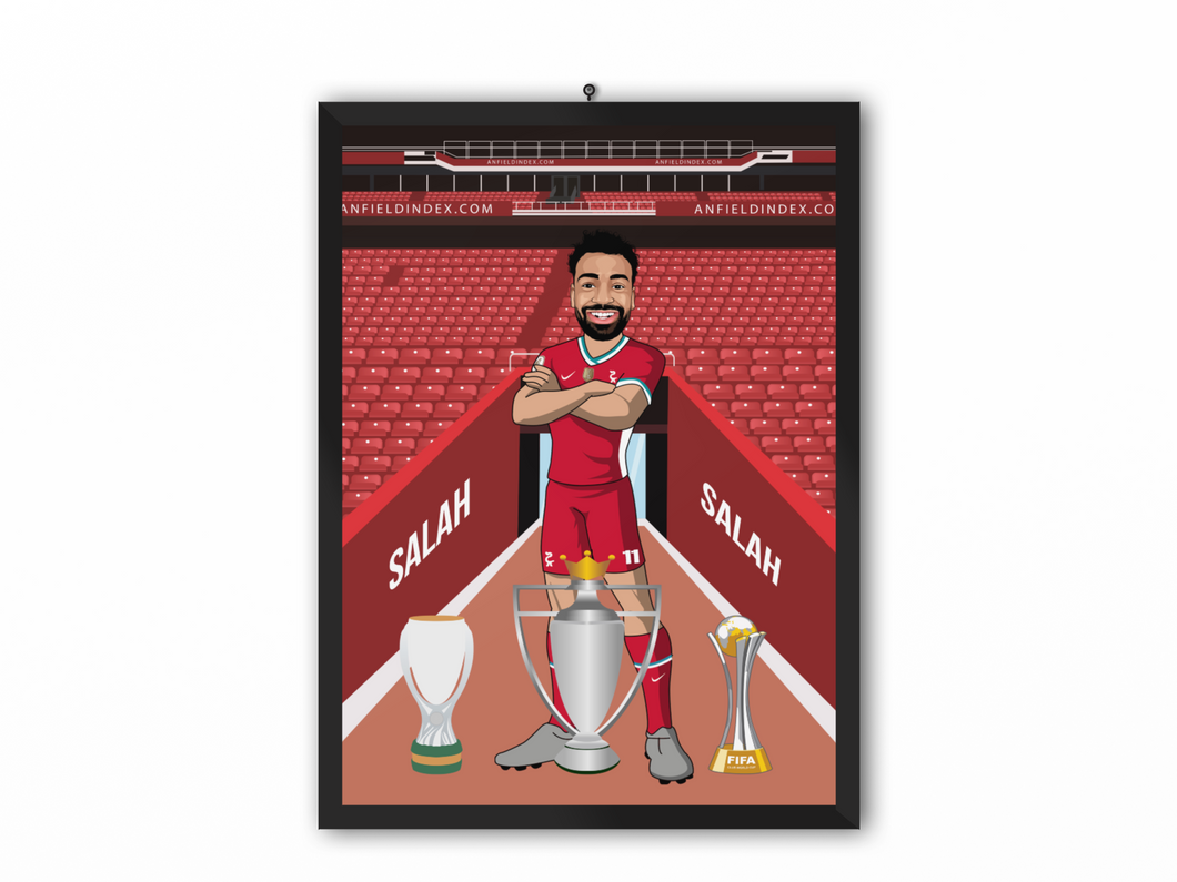 Mohamed Salah - Liverpool 20/21 Caricature Illustration Print - A3, A4 or A5