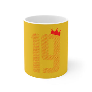 19 Crown Champions 19/20 Mug (Red Print on Yellow)