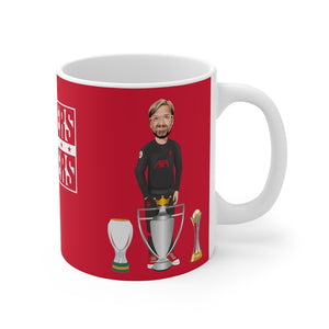 Klopp 3 Trophies Caricature Mug (Red Background)