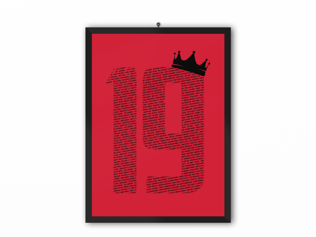 19 Crown - Champions 19/20 Print (Black Text) - A3, A4 or A5
