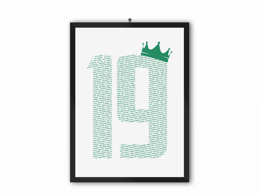 19 Crown - Champions 19/20 Print (Green Text) - A3, A4 or A5