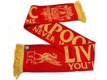 Load image into Gallery viewer, Liverpool Gold Standard Gold Print Jacquard Knit Scarf