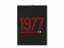 Load image into Gallery viewer, 1977 Retro Print (Red Text) - A3, A4 or A5