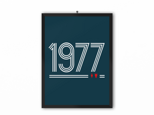 1977 Retro Print (White Text) - A3, A4 or A5
