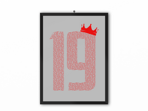 19 Crown - Champions 19/20 Print (Red Text) - A3, A4 or A5