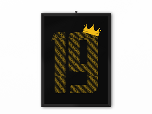 19 Crown - Champions 19/20 Print (Yellow Text) - A3, A4 or A5