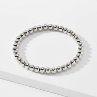 6MM BEADED METAL STRETCH BRACELET