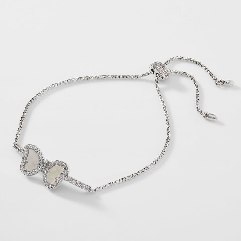 VANESSA MOTHER OF PEARL AND CZ BUTTERFLY BRACELET