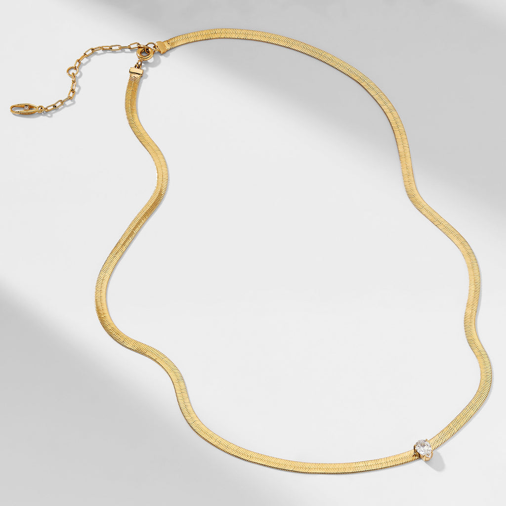 LUX HERRINGBONE CHAIN AND CZ NECKLACE