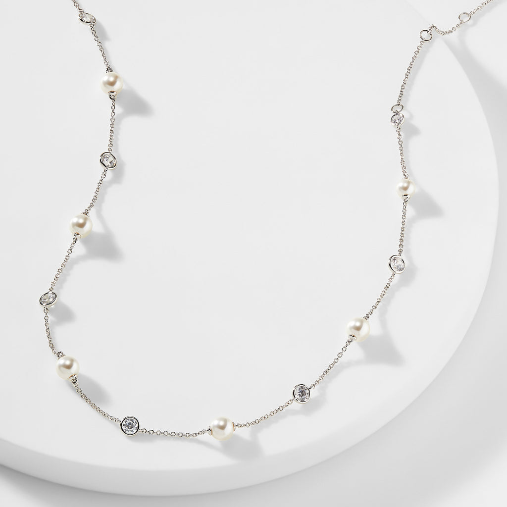 CAMILA PEARL AND CZ STATION NECKLACE