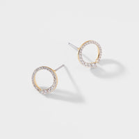 RIPPLE SMALL OPEN CIRCLE PAVE CZ EARRINGS