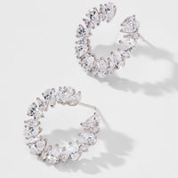 SMALL CZ FRONTAL HOOP EARRINGS