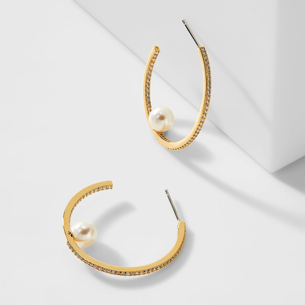 CAMILLA FLOATING PEARL HOOP EARRINGS