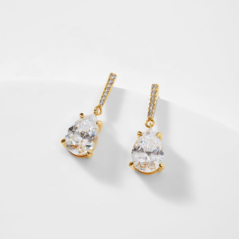 COLETTE CZ PEAR DROP POST EARRINGS