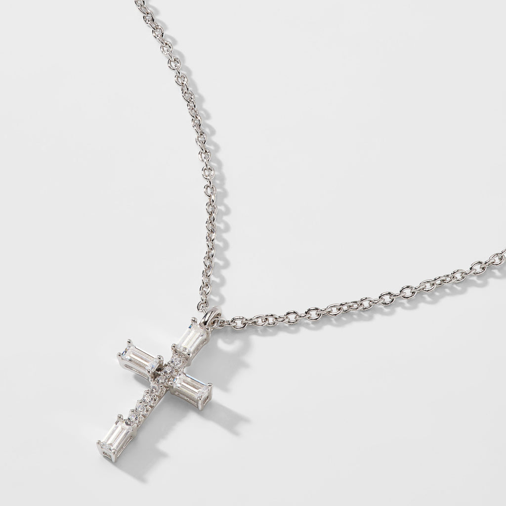 BAGUETTE CZ CROSS PENDANT NECKLACE