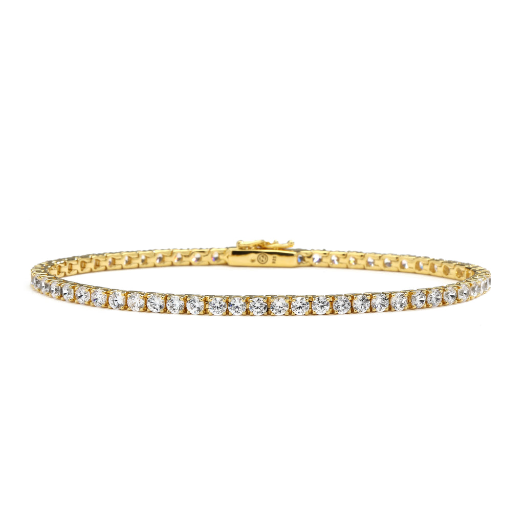 "nadri 18k gold plated sterling silver cz tennis bracelet 7.75"" large"