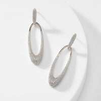 SPRING FLING STERLING SILVER LONG OVAL DROP EARRINGS