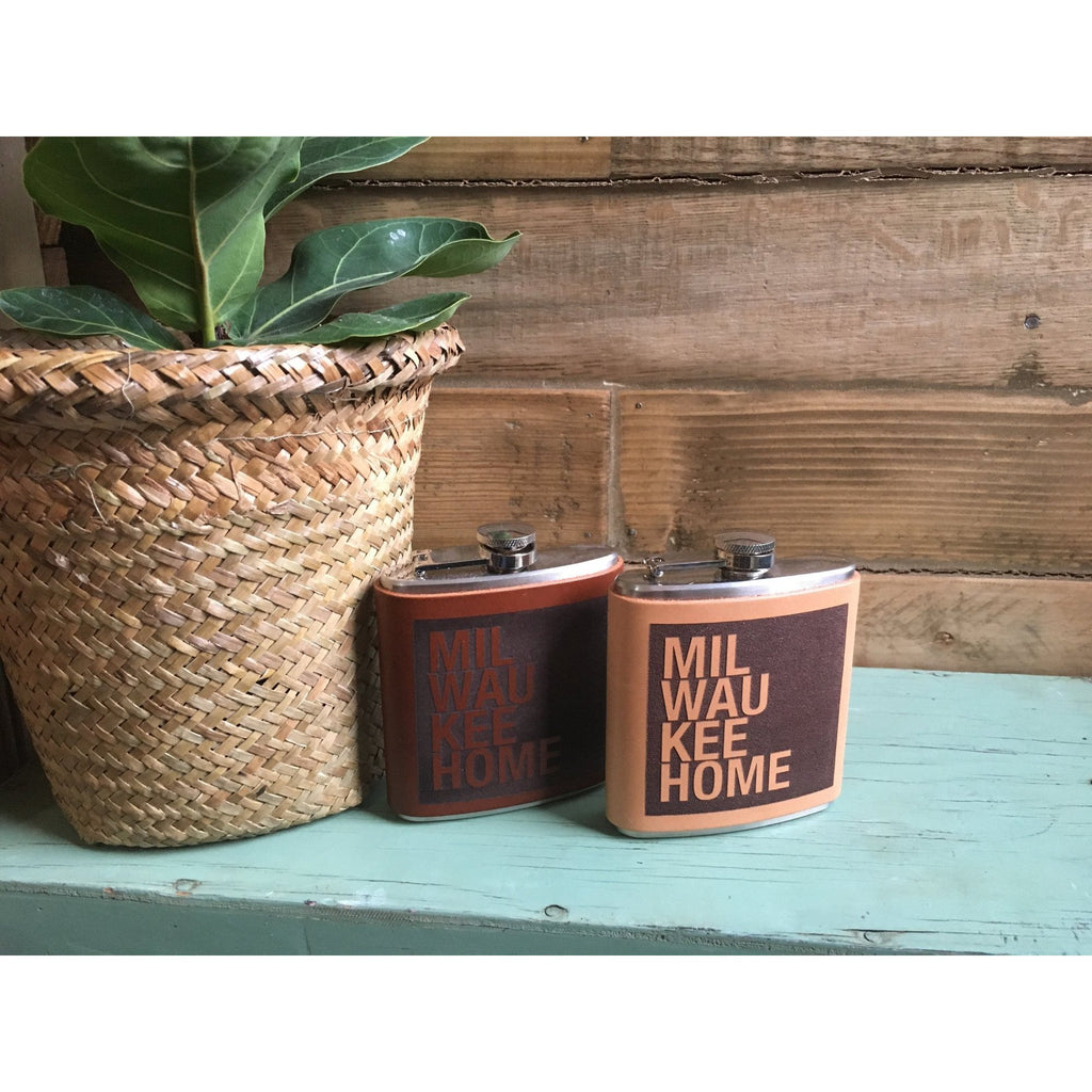 Milwaukee Home Leather Flask