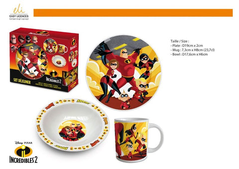 3-delige ontbijt/lunch set The Incredibles (keramiek)