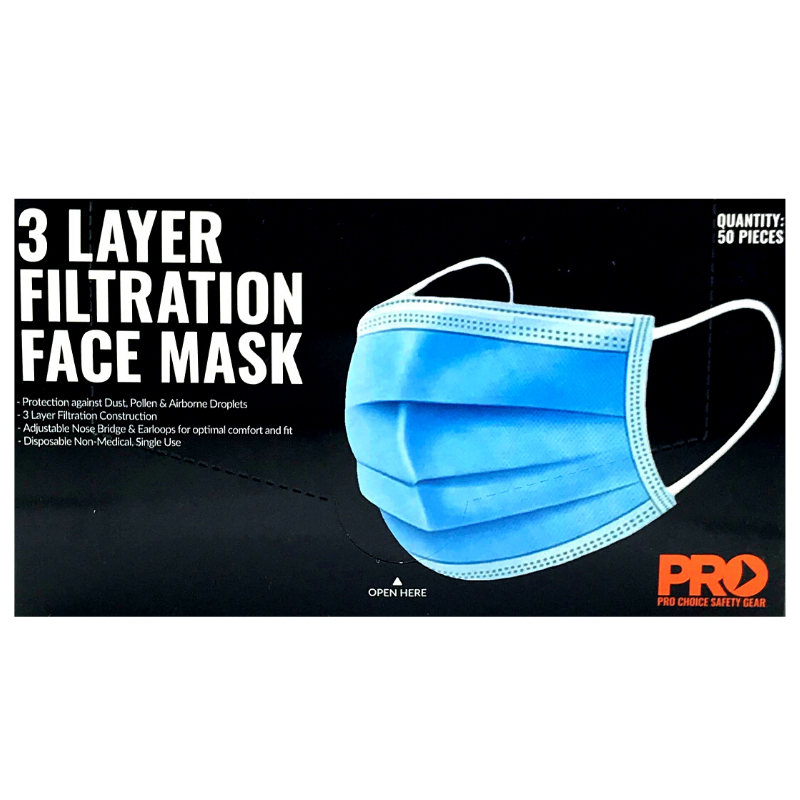 DISPOSABLE 3 LAYER FILTRATION MASK 50PK