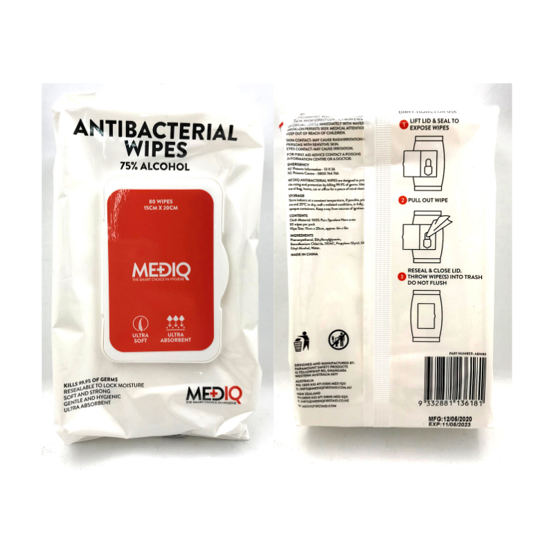 HIP POCKET MEDIQ ANTIBACTERIAL WIPES 75% ALCOHOL