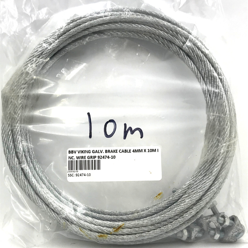 GALVANIZED  BRAKE CABLE 4MM X 10M INC. WIRE GRIP