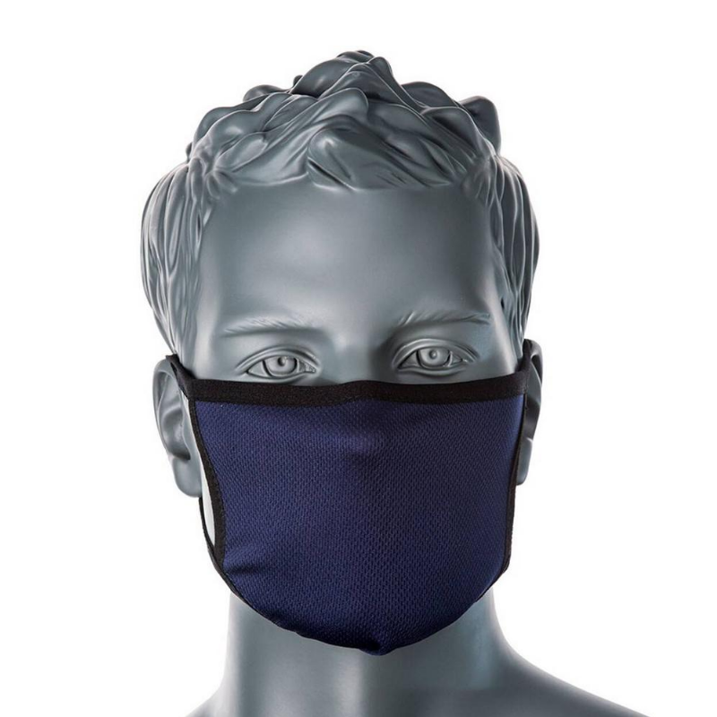 PORTWEST ANTIMICROBIAL 3PLY FACE MASK NAVY