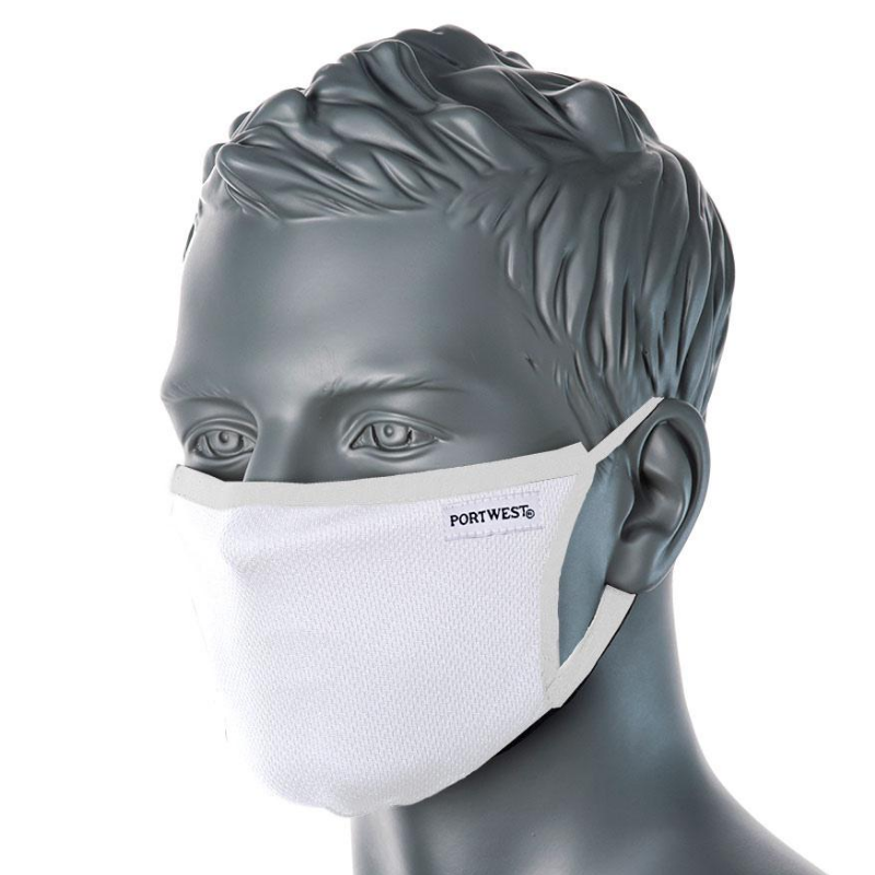 PORTWEST ANTIMICROBIAL 3PLY FACE MASK WHITE