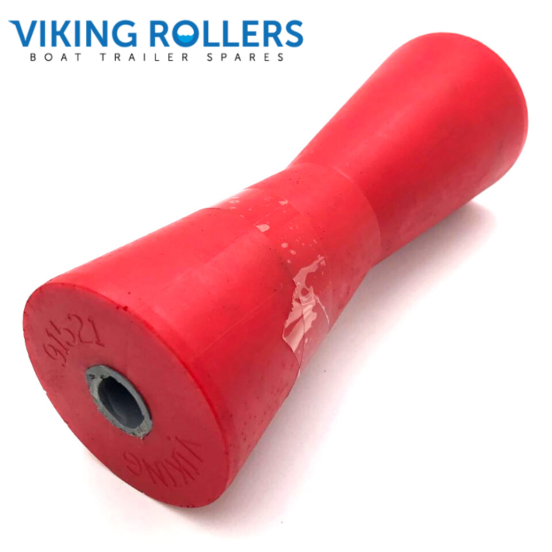 CONCAVE 8 INCH RED POLY SOFT ROLLER 21MM HOLE