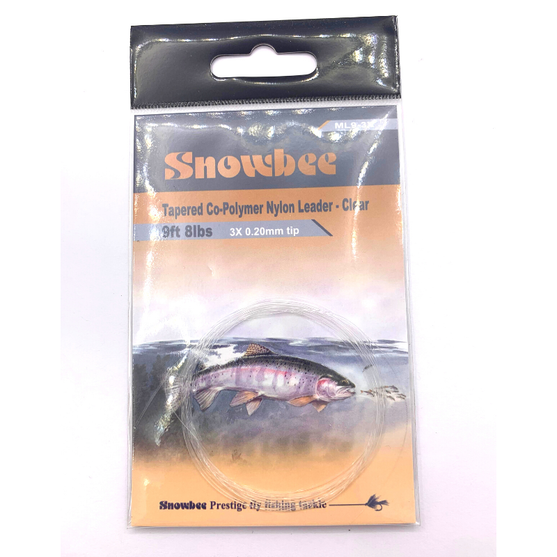 SNOWBEE TAPERED LEADER 9 FT 3X 8LB