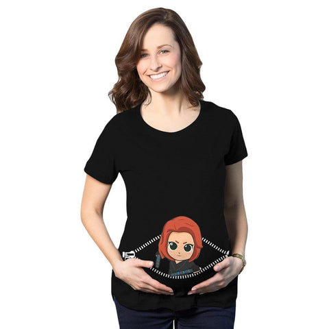 Baby Black Widow Peeking Maternity T-Shirt - Fandomaniax-Store
