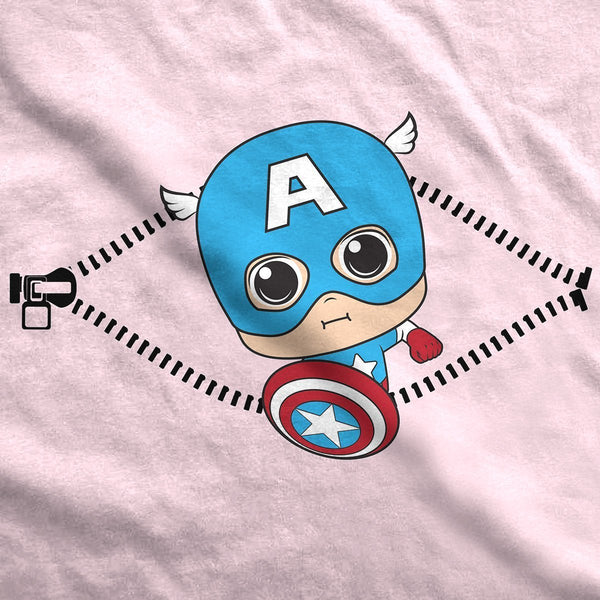 Baby Captain America Peeking Maternity T-Shirt - Fandomaniax-Store