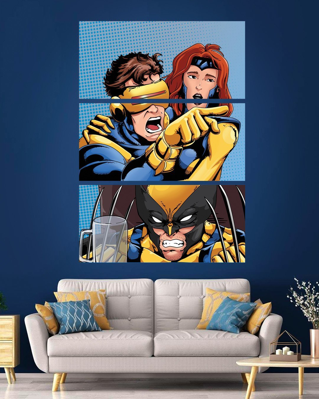 Cyclops Yelling at Wolverine 3 Piece Canvas - Fandomaniax-Store