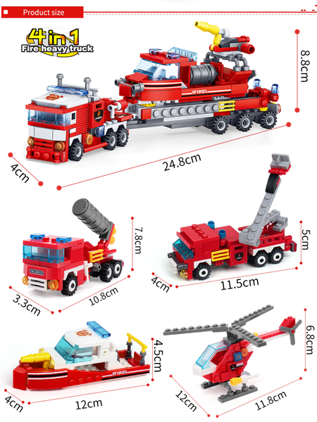 Fire Fighting 4 in 1 Building Blocks - Fandomaniax-Store