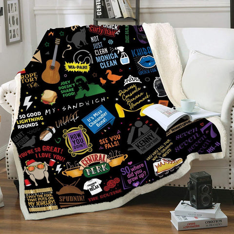 Friends Icons Throw Blanket - Fandomaniax-Store