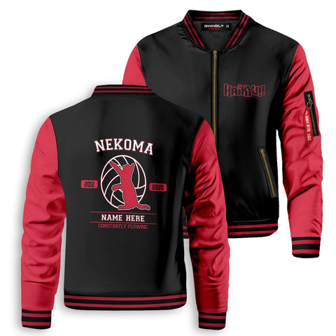 Personalized Nekoma Constantly Flowing Bomber Jacket - Fandomaniax-Store
