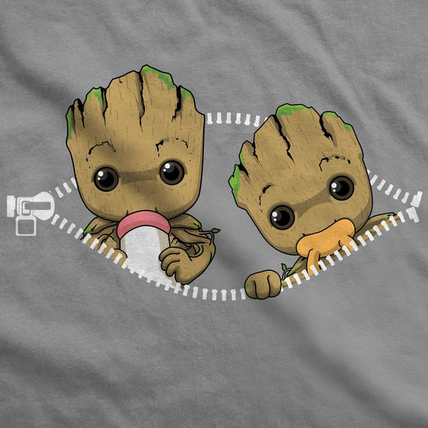 Twin Baby Groot Peeking Maternity T-Shirt V2 - Fandomaniax-Store