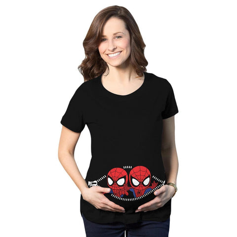 Twin Spiderman Peeking Maternity T-Shirt - Fandomaniax-Store