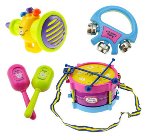 baby drums, maracas, tambourine, and horn toy set