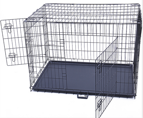 large dog crate with two open doors