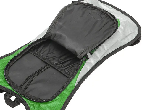 interior pocket of green hydration water pack