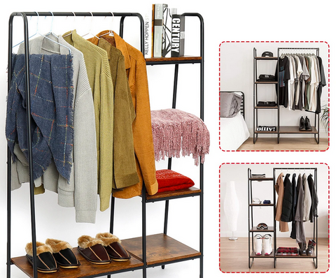 clothing rack with shelves clothes coats shoes