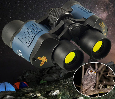 view of owl at night with low light night vision binoculars
