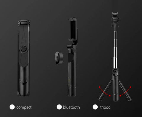 black selfie stick with remote control and tripod